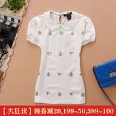 2017依/恋小熊维尼专柜正品夏新款学院女装纯棉学生娃娃领短袖T恤