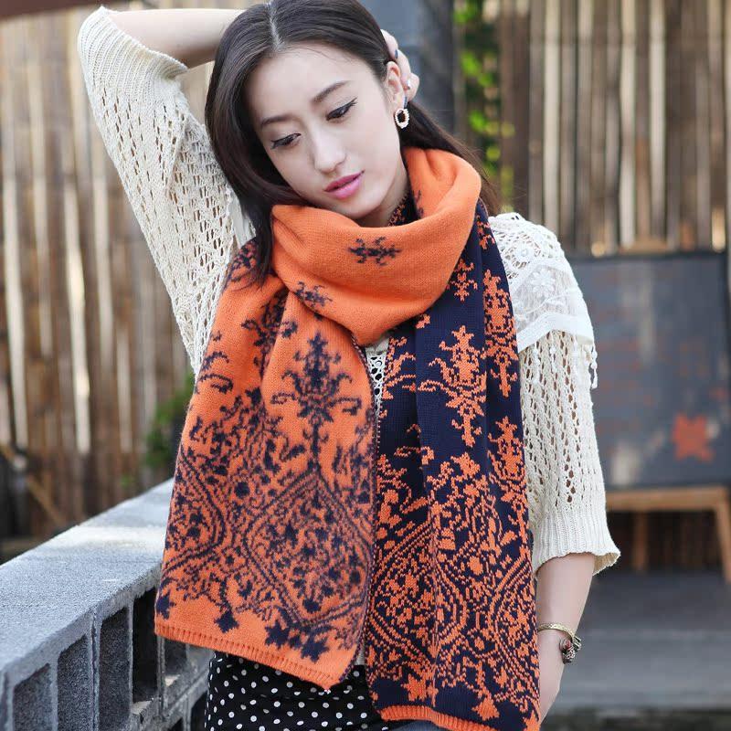 韩版潮青花瓷提花针织围巾 女士秋冬天保暖加厚长拉毛毛线围巾女