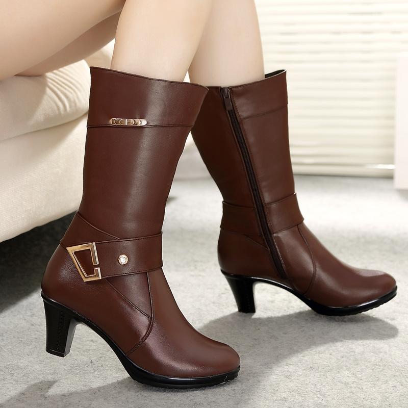 2014新款真皮中跟女靴加绒中筒靴子冬女长靴冬季中年骑士靴棉靴