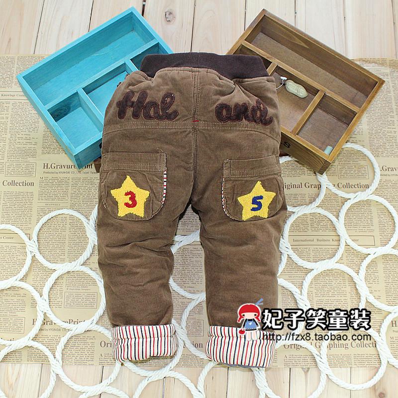 宝宝棉裤冬加厚婴儿裤子男女童童裤灯芯绒夹棉裤可开档0-1-2-3岁