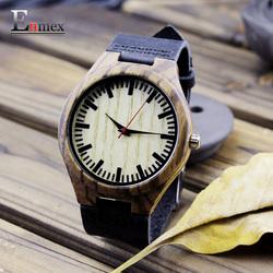 Enmex竹木手工雕刻手表纪狂野个性男表夏日礼物创意深色木表