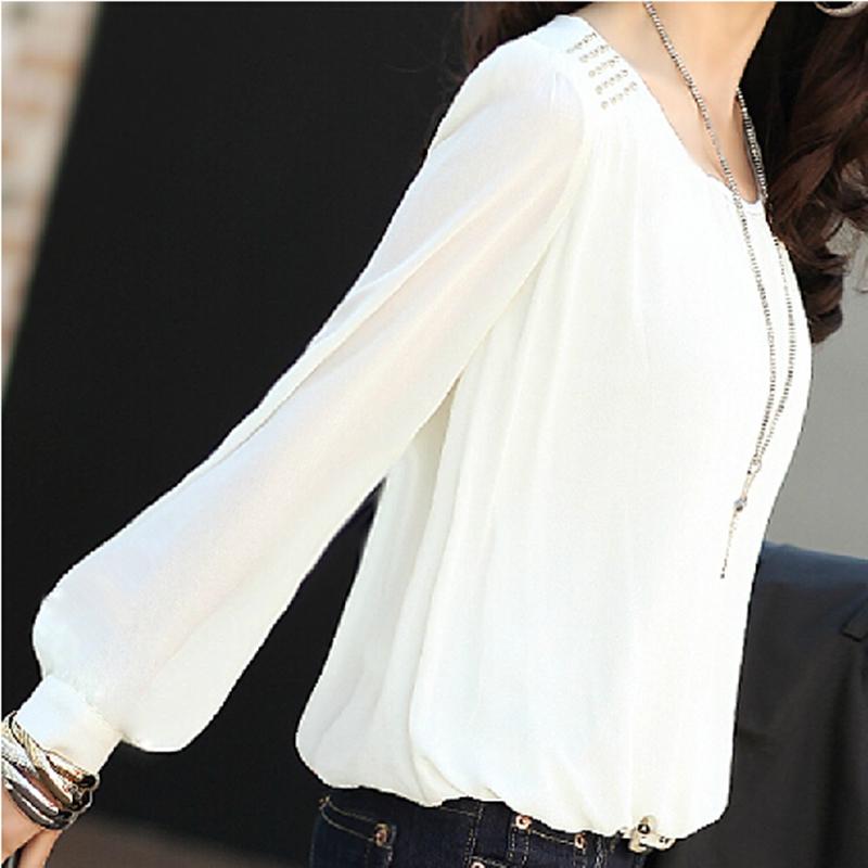 2015韩版雪纺泡泡袖白色大码雪纺打底衫宽松 长袖女夏装上衣