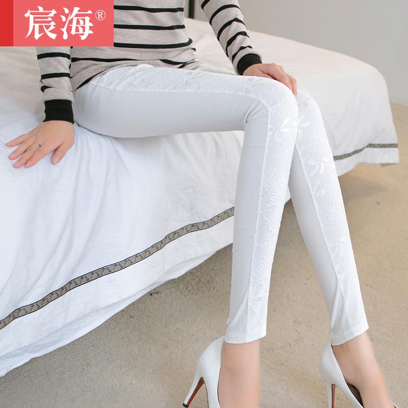 2015新春季女装显瘦外穿铅笔裤蕾丝打底裤薄款大码女士小脚长裤子