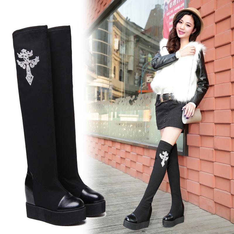 秋冬季新款过膝长靴高跟坡跟长筒靴女鞋瘦腿弹力靴子内增高高筒靴