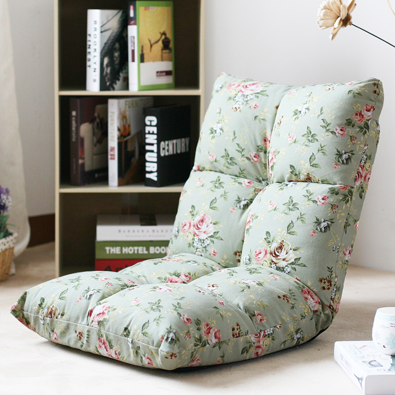 田园懒人沙发 榻榻米 创意折叠 单人卧室休闲电脑折叠躺椅子 义赛