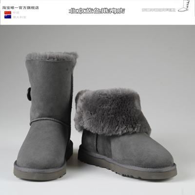 澳洲正品代购雪地靴女中筒皮毛一体真皮一粒扣5803女棉鞋冬季包邮