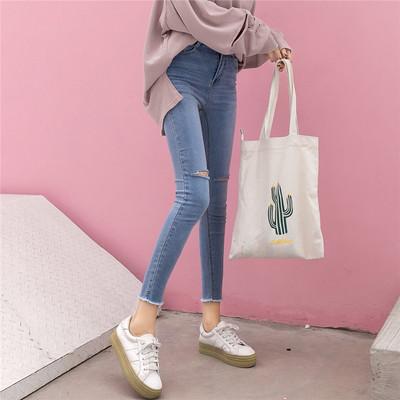 高腰破洞牛仔裤女九分裤秋装新款韩版chic风紧身小脚裤弹力铅笔裤
