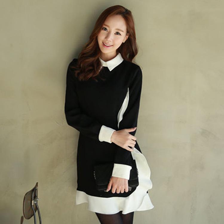 2015春季新款韩版女装黑白撞色翻领拼接收腰弹力荷叶边连衣裙 F71