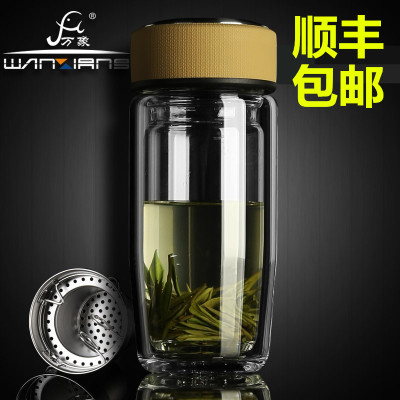 万象大肚玻璃杯正品双层带盖过滤网透明便携杯办公泡茶水杯子V17