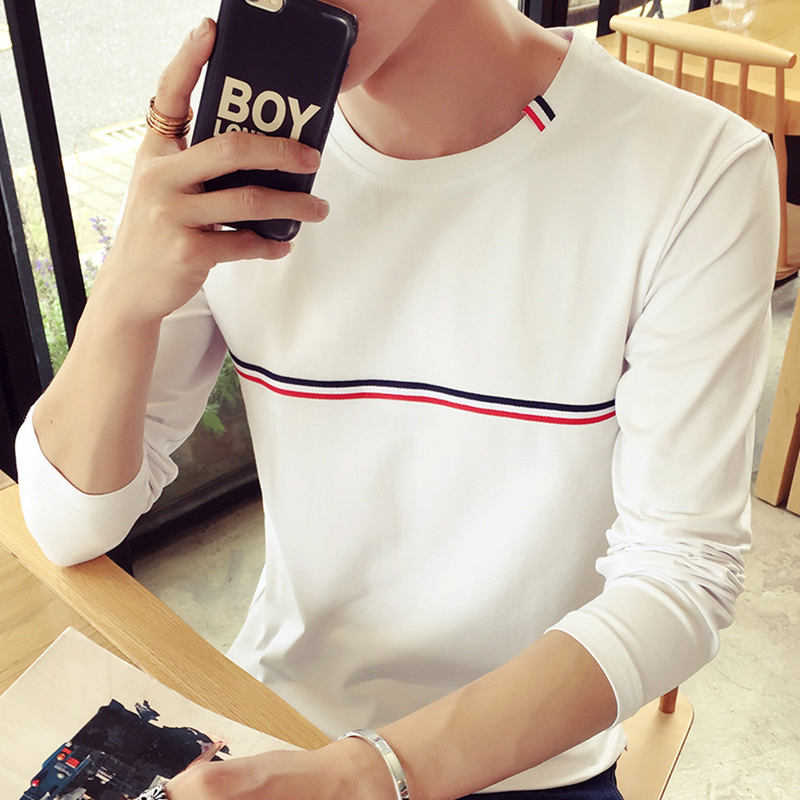 男士t恤2016新款秋装韩版修身圆领长袖白色体恤百搭t恤衫潮打底衫