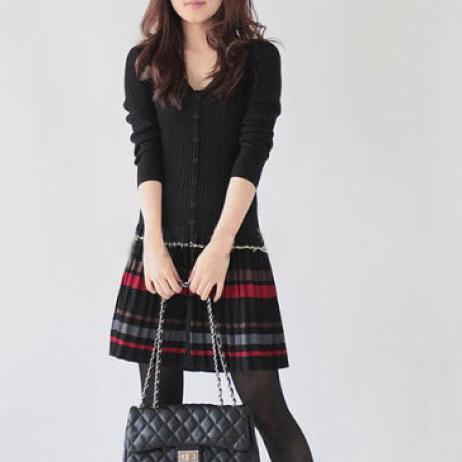 2014秋装新款女装连衣裙长袖气质羊绒衫大码显瘦收腰春秋季打底裙