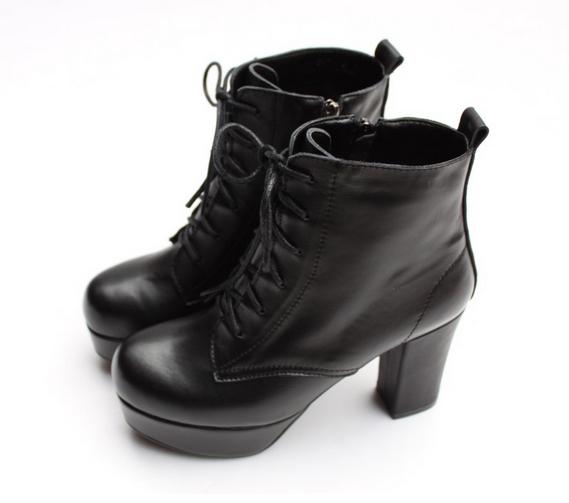 新品马丁靴女真皮短靴 绑带防水台粗高跟马丁靴加绒秋冬女鞋靴子