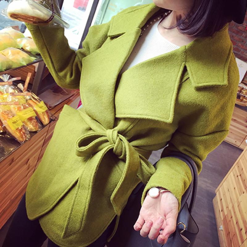 2014冬季新款女装 欧美复古简约大牌风好质感宽松毛呢外套送腰带