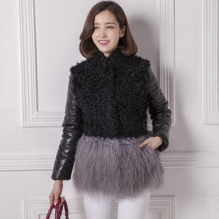 2014新款羊羔毛皮草拼接滩羊毛海宁真皮羽绒服女装欧洲站皮草外套