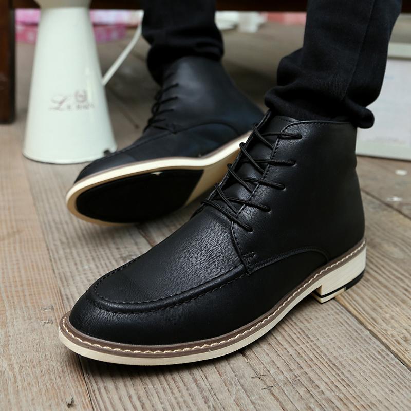 男士英伦男靴子高帮保暖棉短靴复古军靴 韩版透气马丁靴潮流皮靴