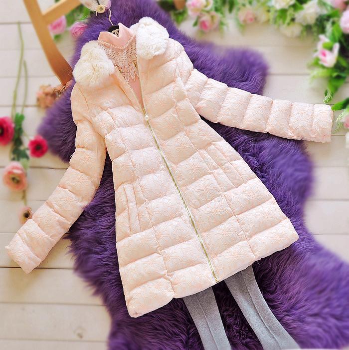 B2857 粉色蕾丝羽绒棉衣棉服中长款甜美毛领显瘦淑女韩版公主加厚