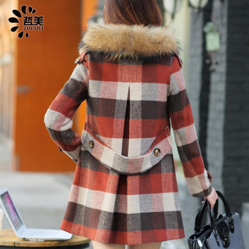 2014秋冬新款毛呢大衣毛呢外套韩版宽松貉子毛领斗篷千鸟格外套女