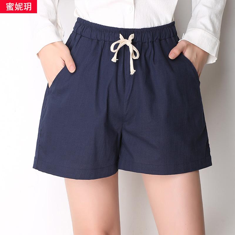 蜜妮玥休閑棉麻闊腿亞麻大碼顯瘦短褲寬松