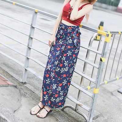 印花长裙半身裙夏高腰不规则几何图案显瘦百搭波西米亚度假长裙子