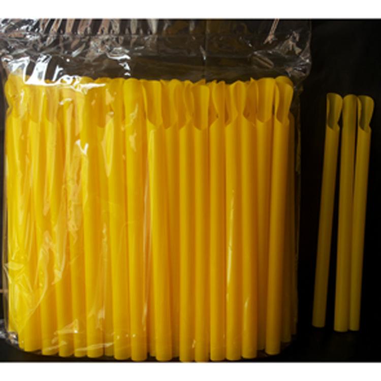 满包邮 刨冰吸管 一次性吸管 1.1CM黄色粗吸管 带勺冰沙吸管100支