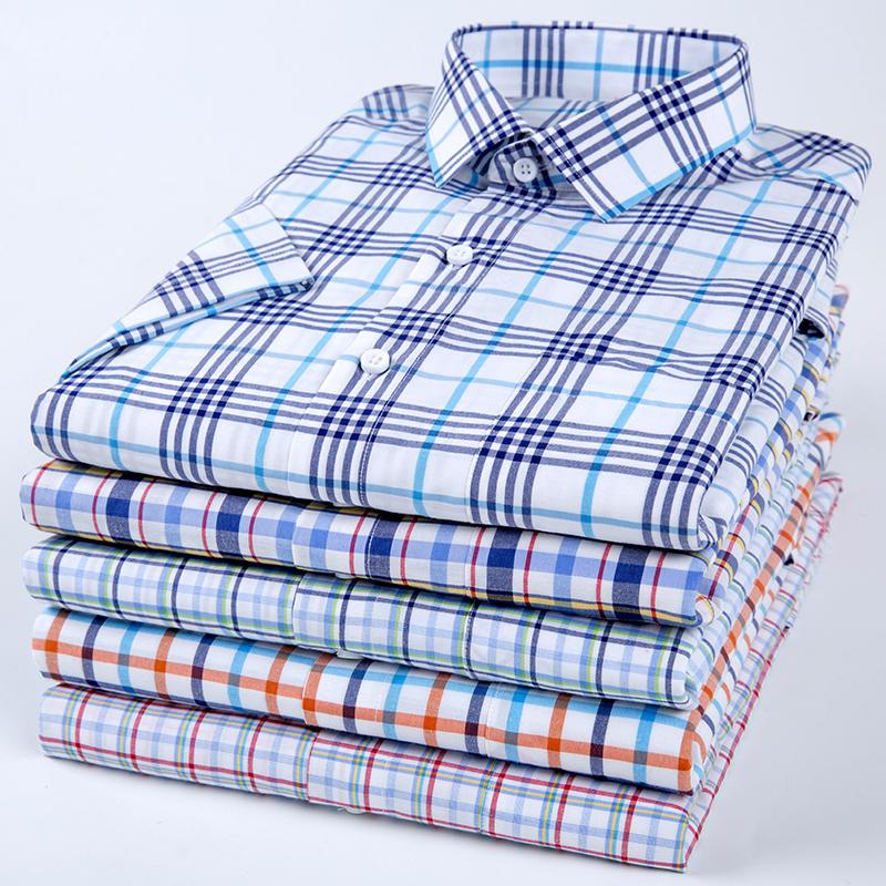休闲夏季短袖修身潮流青年薄款百搭沙龙格子帅气衬衣衬衫