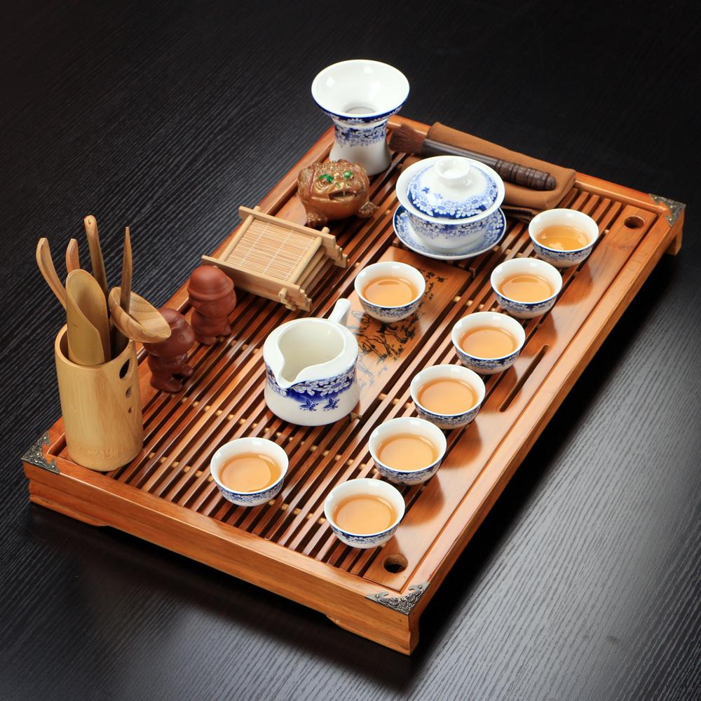【天天特价】陶瓷冰裂青花瓷茶具套装 整套功夫茶具实木茶盘茶道