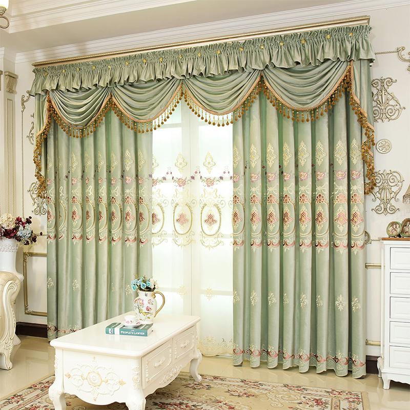 高档奢华新中式定制窗帘帘头卧室客厅欧式遮光成品绣花贴绒布刺绣