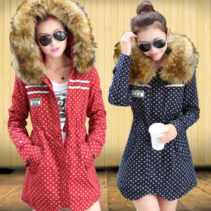 2014新款冬装韩版棉衣女中长款修身棉服加厚保暖棉袄纯棉外套连帽
