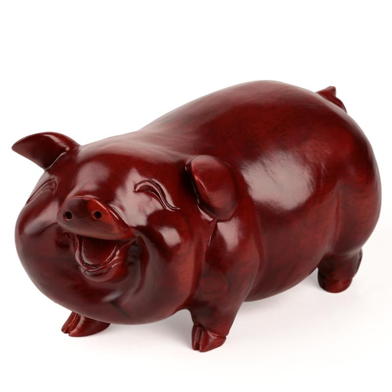 越南红木雕刻工艺品 东阳木雕猪家居风水摆件 实木质12十二生肖猪