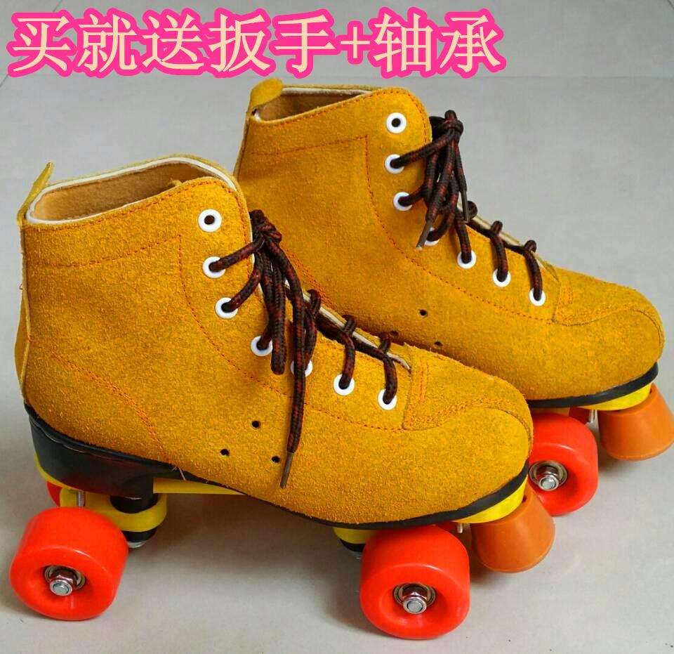 促销翻反毛牛皮 双排闪光轮滑 旱冰鞋成人男女儿童溜冰鞋 轮滑鞋
