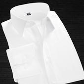 力豆春季男士衬衫修身纯色衬衣商务免烫职业白寸衫男长袖正装韩版