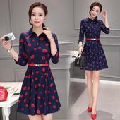 裙子春秋装夏装新款潮女装韩版修身显瘦中长款七分袖衬衫连衣裙