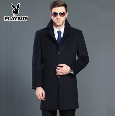 花花公子毛呢大衣男土风衣中长款妮子尼子正品牌中年男士外套呢子