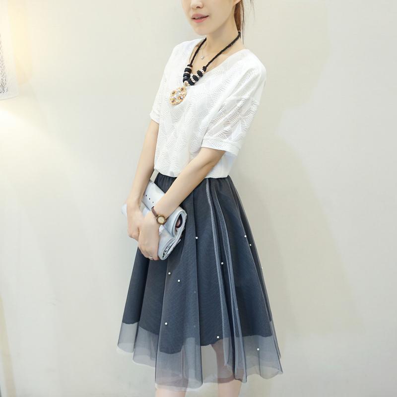 欧洲站2016夏装新款韩版时尚休闲短袖蕾丝雪纺两件套套装连衣裙女