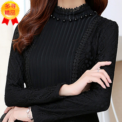 [最后一小时] 秋冬新款加绒加厚打底衫半高领长袖蕾丝衫女士韩版显瘦大码上衣潮