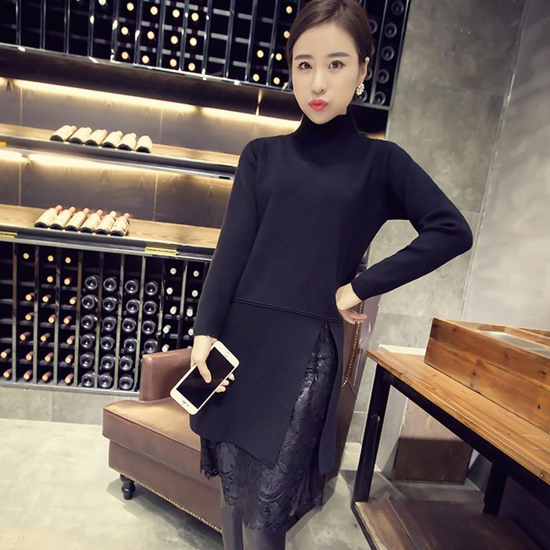 宜服2016春季新款女装连衣裙 韩版中长款气质淑女蕾丝拼接打底裙