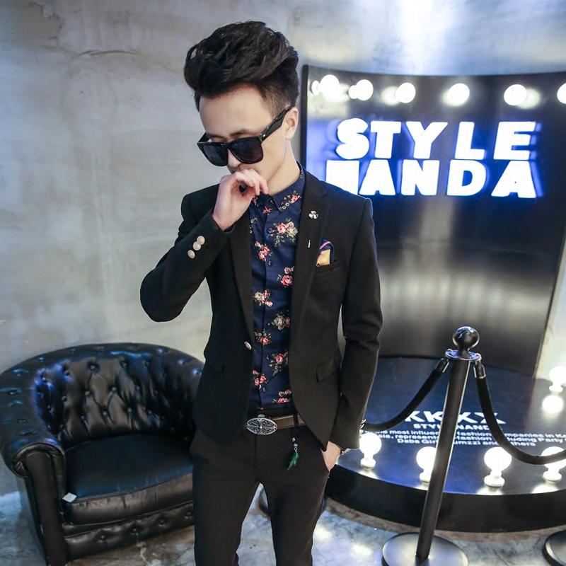 2016新款韩国时尚简约一粒扣修身小西服外套男潮英伦休闲西装包邮