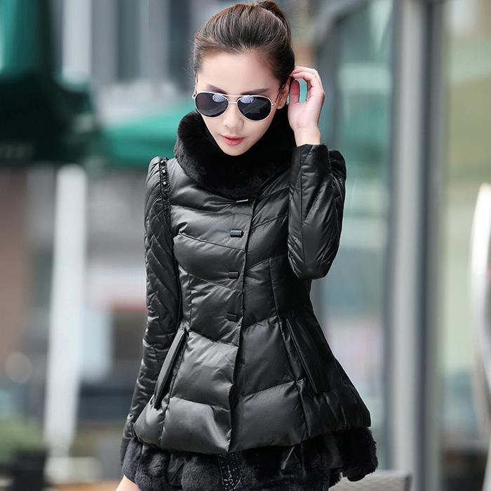 棉衣女短款2014冬装新款棉服加厚时尚韩版女装修身棉袄PU皮外套潮