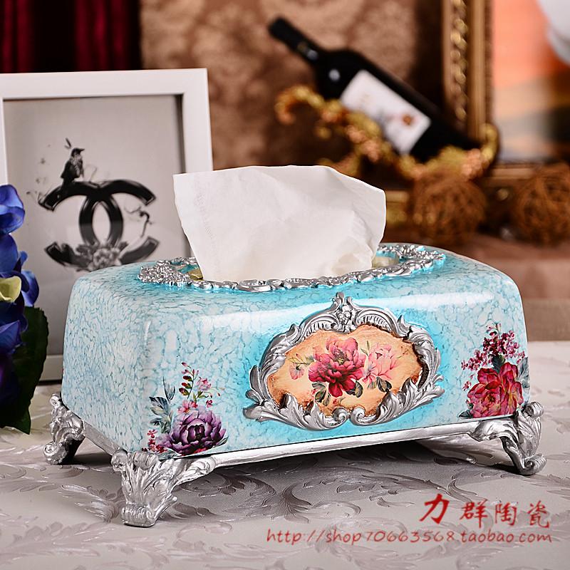 浮雕纸巾盒摆件欧式抽纸盒客厅高档手绘饰品餐桌树脂纸盒摆件礼品
