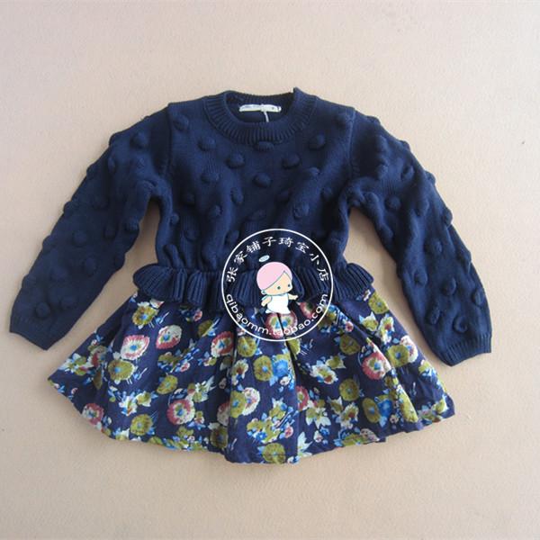 张家铺子 2014韩国版女童秋冬装 儿童毛线拼接 碎花长袖连衣裙