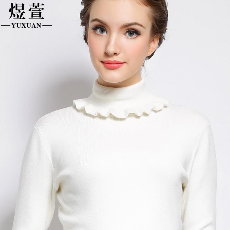 煜萱新年特价欧洲站新款白色高领毛衣女冬厚修身套头衫打底针织衫