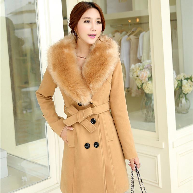 2014冬款女装韩版中长款加厚双排扣大毛领毛呢大衣显瘦毛呢外套