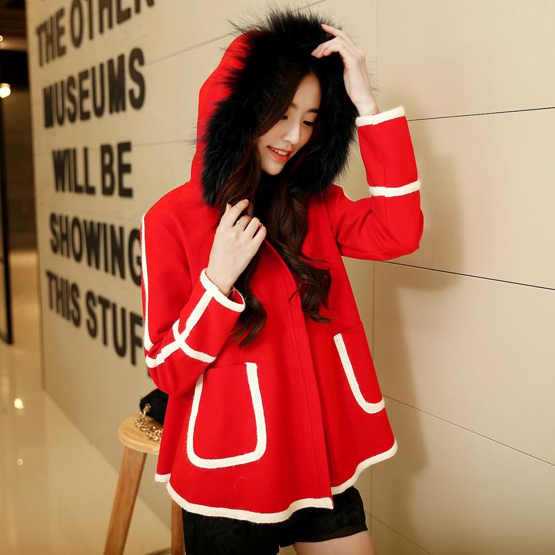女士呢料大衣外套韩版2014冬新修身毛领大衣斗篷毛呢外套短款连帽