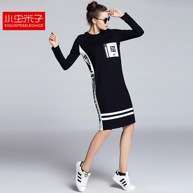 小虫米子2016秋季新款字母印花口袋拼接条纹运动休闲连衣裙C1242