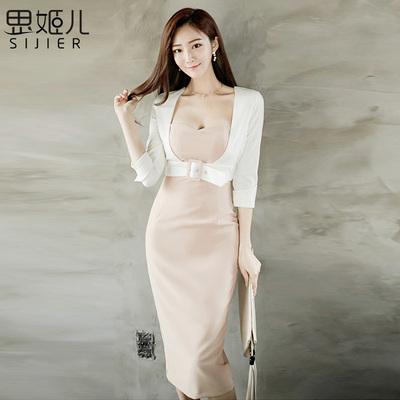假两件连衣裙2017春季新中长款韩版职业OL气质修身七分袖包臀裙女
