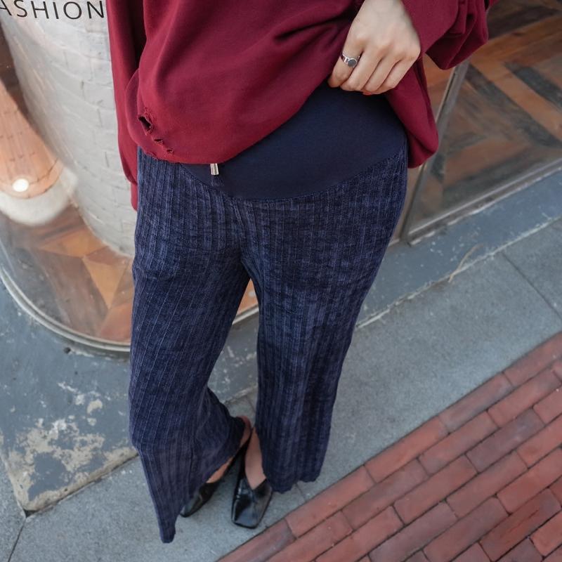 孕妇针织阔腿裤韩国孕妇装潮妈秋装冬季加厚孕妇裤宽松托腹直筒裤