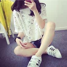 上衣服潮 T恤宽松显瘦喷墨体恤半袖 韩版 女装 学生缕空短袖 天天特价