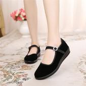 老北京布鞋女鞋平底单鞋休闲工作鞋女黑色软底跳舞女鞋妈妈鞋防滑