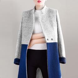 冬装大码加厚呢子大衣中长款小香风韩版羊毛拼接毛呢外套女修身