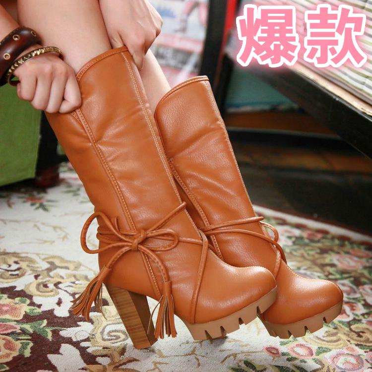 2014季节冬新款韩版高跟粗跟靴雪地靴大码靴子女套筒中筒靴冬靴